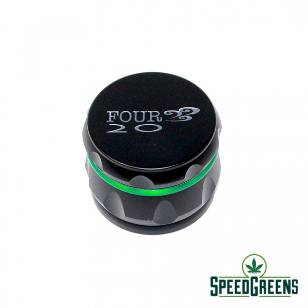 Matte Alloy Grinder Black with Green Stripe 1